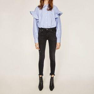 Zara Rostov black skinny jeans frayed hem 8